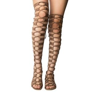 Gladiator Caged Over The Knee OTK Flat Sandal Boot